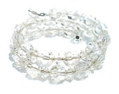 Sparkling Crystal Bead Coil Bracelet - Faceted & Aurora Borealis Coating Vintage Jewelry for Formal Evening Cocktail Glam and Diva