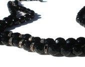 """Double Strand Black Glass Necklace with White Rhinestone Rhonedels Adjustable Up To 15""""  - Vintage Jewelry Formal Evening"""