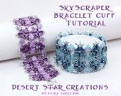 Sky Scraper Bracelet Cuff Tutorial, Tango Kheop Silky Beadweaving Pattern. Two Hole Beading PDF Instructions, Laura Graham Orig Design