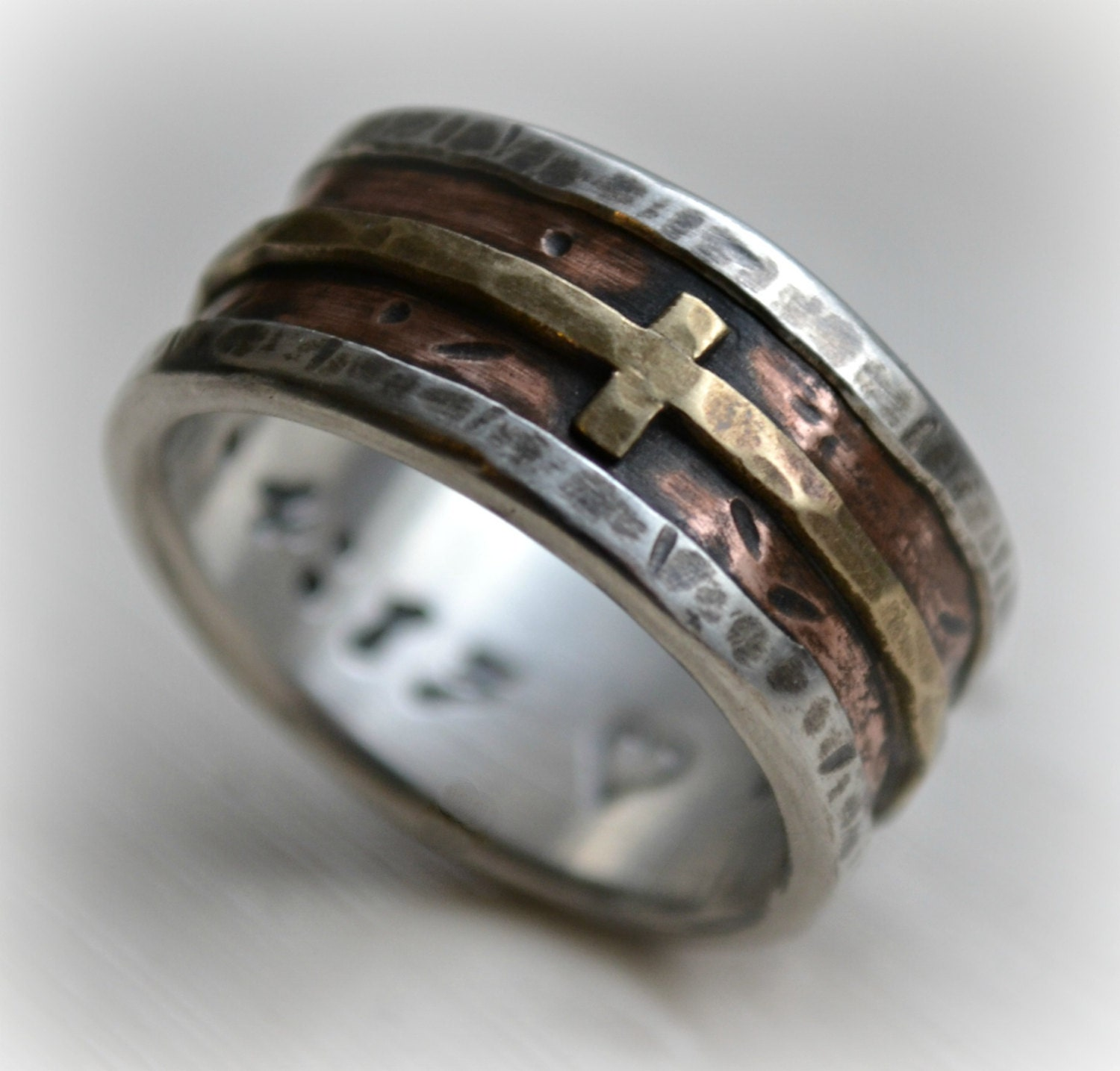 mens wedding band rustic fine silver 14k rose and 14k yellow