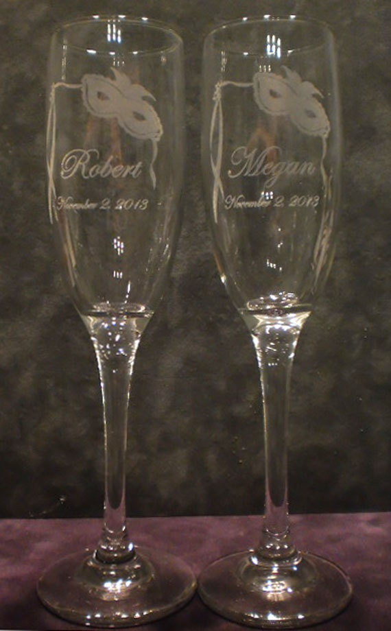 Masquerade - Mardi Gras Champagne Toasting Flutes -  SET of 2 - Personalized - Engraved - Light OPTION