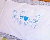 Screen printed Alpaca Garden Pillowcase cover