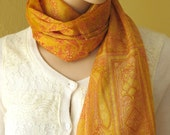 Scarf Beautiful Sari Scarf Versatile Upcycled VINTAGE Sari - floral yellow mustard orange red - autumn winter accessories