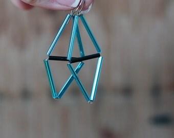 Sky blue Himmeli Earrings- Rhombus earrings- Minimal urban jewelry