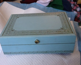 Vintage Baby Blue and Gold Jewelry Box Blue Velvet Interior