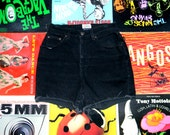 High Waisted Denim Shorts - 90s Black Stretch Jean Shorts - High Waist, Cut Off, Frayed, Roll Up St John's Bay Brand Shorts Size 6 8 M