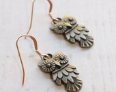 Rose Gold Brass Owl Earrings, Rose Gold Filled Ear Wires, Cottage Chic Style