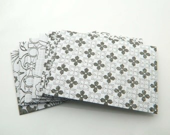 White and Black Envelopes -Set of 6 - Handmade Envelopes, Money Envelopes, Cards Envelopes, Black, White, Geometric, Lines, Squares, Elegant