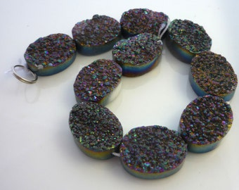 Pretty grey purple druzy oval beads 20mm 1/2 strand
