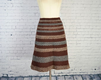 VINTAGE 1970's Knit Skirt // Traina Boutique Brown Striped Knit/Crochet Boho Skirt