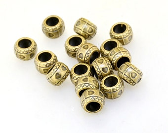 18pcs of Charm Antique Bronze Heart Ball Large Hole 6mm  Link Bead Finding Beads Filigree 11mmx 7mm Fitting jewelry Supplies