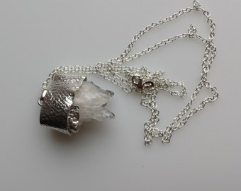 Natural Quartz Crystal Cluster Point Druzy Silver Pendant