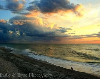 Beach Sunset Photographic Art Print - 5x7 Incoming Storm photograph