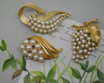 3 Signed Gold & Pearl Brooch Lot Corocraft and ART