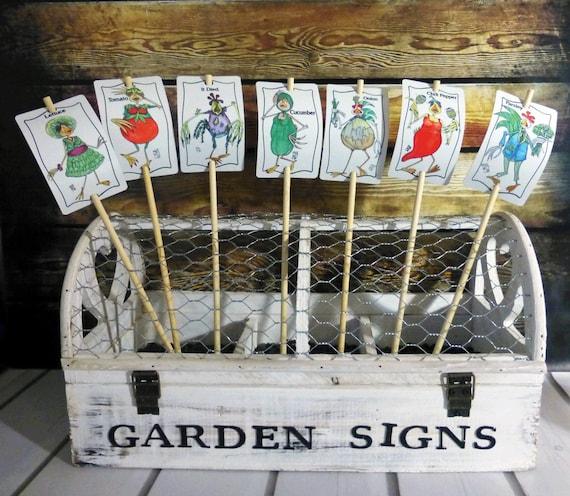 Vegetable Sign 20 Set Garden Marker Stake Name Colorful