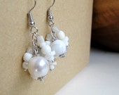 Pearly White Cluster Dangle Earrings