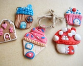 Fairy House Christmas Ornament Set - Polymer Clay