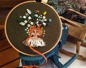 """Embroidery art """" Miss Silly Hair """" Free Hand Stitched"""