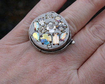 Boho Jeweled Ring Encrusted Jewelry Round Cocktail Statement Large Ring Vintage Rhinestones Crystals in Oxidized Silver Sparkle Factor