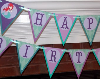 READY TO SHiP Red Haired Mermaid Birthday Banner Under the Sea Birthday Banner Little Mermaid Birthday Banner Purple and Teal Mermaid Party