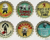 Zombie Magnet Set, 6 Bottle Cap Magnets, zombie gifts, zombie decor, zombie party favors, boyfriend birthday gift, stocking stuffer ideas