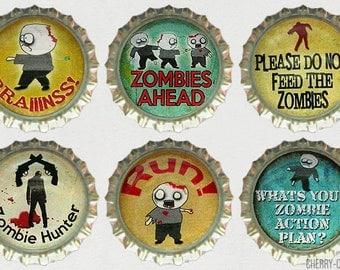 Zombie Magnet Set, 6 Bottle Cap Magnets, zombie gifts, zombie decor, zombie party favors, boyfriend birthday gift, kitchen organization