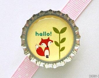 Hello Fox Bottle Cap Magnet - fox baby shower favor, baby shower ideas, fox decor, fox party favor, woodland baby shower, woodland party
