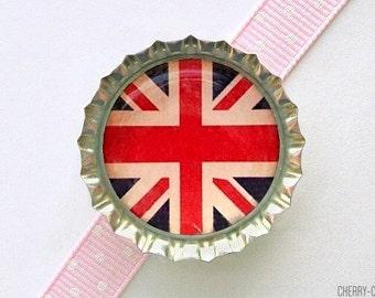 British Flag Bottle Cap Magnet - british flag magnet, union jack magnet, fridge magnet, art magnet, union jack decor, british flag decor
