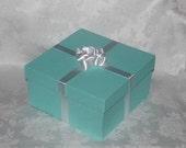 Paper Mache Tiffany Blue Gift Box Centerpiece 10 x 10 x 5 inches