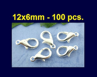 100 pcs. Silver Plated Lobster Clasps - 12mm X 6mm - Claw Clasps
