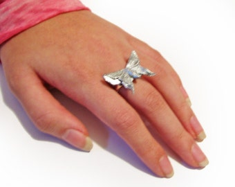 Silver Butterfly Ring Origami Butterfly Ring Adjustable