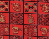 New Bright Red African Inspired Gold Matallic fabric by the yard for African Quilt, Massi people/ African clothing, African quilting
