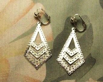 Clip on or Pierced Silver Filigree Kite Earrings