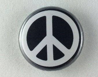 "1"" Button - Peace - White on Black"