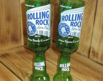 Upcycled Rolling Rock Chalices Redneck Wine Glasses