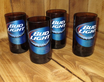 Four Pack Bud Light 8oz Glasses made from upcycled bottles