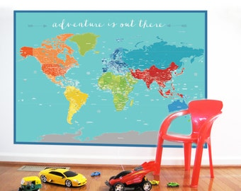 World Map Sticker, Adventure World, Nursery Decor, Baby Room, Map for Play room, Educational Map, Mao for kids
