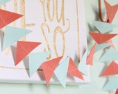 Triangle Garland- Ready to Ship- Mint & Coral