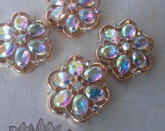 10 Gold Metal AB Rhinestone Buttons  25 mm, Gold Flower Shaped Metal Button, Bridal Accessory Embellishment