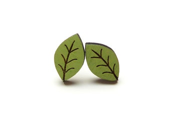 Green Beech Leaf Earrings