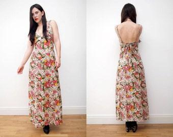 Vintage Floral Open Back Boho GYPSY Wedding Maxi Dress