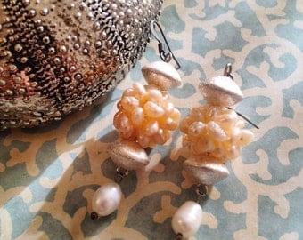 Silver & Freshwater Pearl Cluster Earrings