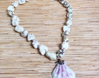 Beach Hippie Lavander Blush Scallop Shell Knotted Hemp Necklace