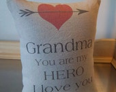 Grandma pillow love throw pillow grammy gift retirement gift  sentimental I love you grandma cotton canvas home decor  birthday gift