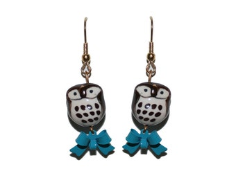 Brown Owl Earrings with Blue Bows