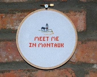 "Eternal Sunshine of the Spotless Mind Cross Stitch Movie Quote- ""Meet Me in Montauk"""