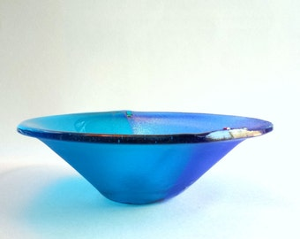 Turquoise Blue Fused Glass Bowl - Iridized  Fused Glass Serving Bowl - Art Glass Bowl in Shades of Blue