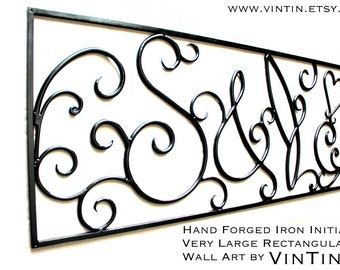 GREAT ANNIVERSARY GIFT!! Hand Forged Iron Initials Name Wedding Romantic 6th Year Very Large Rectangular Wall Art Sign by VinTin