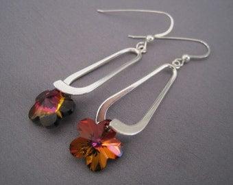 Handmade Silver Plate Swarovski Flower Earrings
