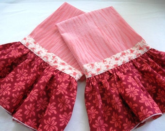 Ruffle flour sack kitchen/bath hand towel-Shibori Hand Dyed-Coral-Only one left